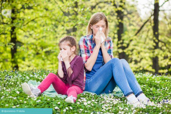 Mutter und Kind putzen sich die Nase auf einer Wiese