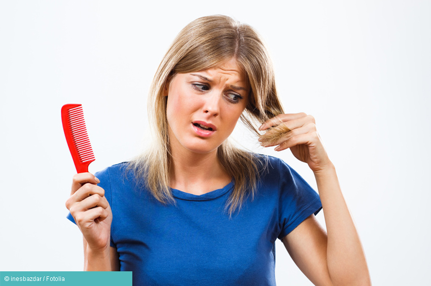 Frau mit Haarausfall